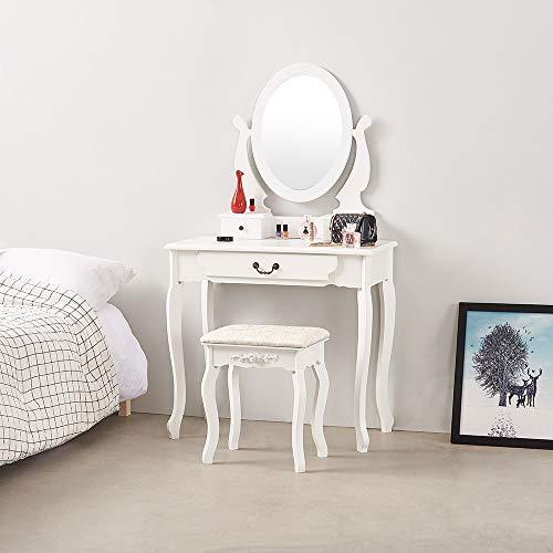 Panana - Tocador con 3 Cajones Espejo Redondo Girar 360 °con Taburete Acolchado Blanco Maquillaje Belleza Salón Dormitorio