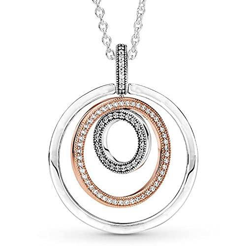 zonger Colgante Original de círculos de Dos Tonos con Collar de Cristal para Pulsera de Abalorios de Plata de Ley 925, joyería DIY de Pandora