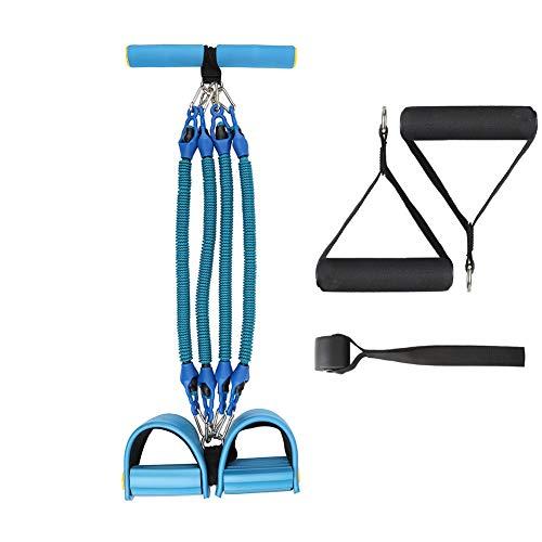 Multifunktionales Pedalwiderstandsband – 4 Röhren Elastische Zugseile Pedal Widerstand Band mit schützenden Nylonhülsen Fitness Elastische Bänder für Bauch, Taille, Arm, Abnehmen Training