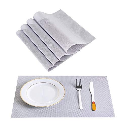 Anmy PVC-hitzebeständige gewebtes Tischsat-fleckbeständige Anti-rutschbare waschbare Esstischmatten-Tischsets - Set von 4 Tischsets (Farbe : Silver, Size : 30.5X 46cm)