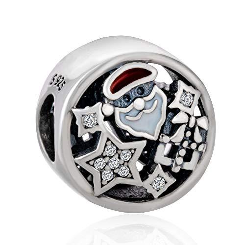 925 Sterling Silver Santa Claus Charm Snow Charm Christmas Charm for Pandora Charm Bracelet (Santa Claus)
