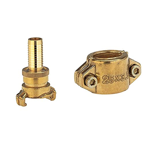 Gardena Messing-Saug- und Hochdruckkupplung für 32 mm (1 1/4 Zoll)-Schläuche & Klemmschalen: Schlauchschelle aus Messing zur Befestigung von Saug- oder Hochdruckschläuchen