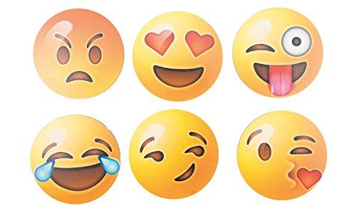 Getränke-Untersetzer Smiley Set, aus Holz, je 6X je 1 Smiley - passend für Jede Größe von Trink-Gläser, Tischplatten-Schutz für jeden Tisch Typ, Holz, Granit, Glas, Marmor, Stein