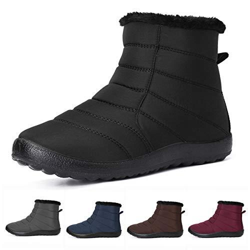 Camfosy Bottes de Neige Femmes, Chaussures Hiver Fourrées Imperméable Bottines de Pluie Fourrure Chaude à Talons Plats Confortable pour Enfants Randonnée
