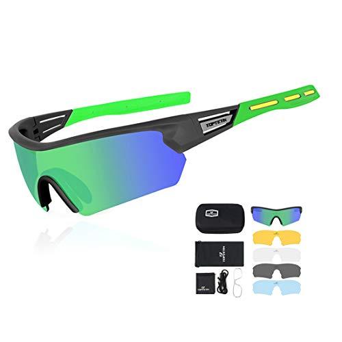 Gafas Ciclismo Polarizadas con 5 Lentes Intercambiables Gafas de Sol Deportivas Antivaho Antireflejo Anti Viento y UV Adaptadas a Deporte Carrera Running Bicicleta MTB para Hombre y Mujer (Verde)