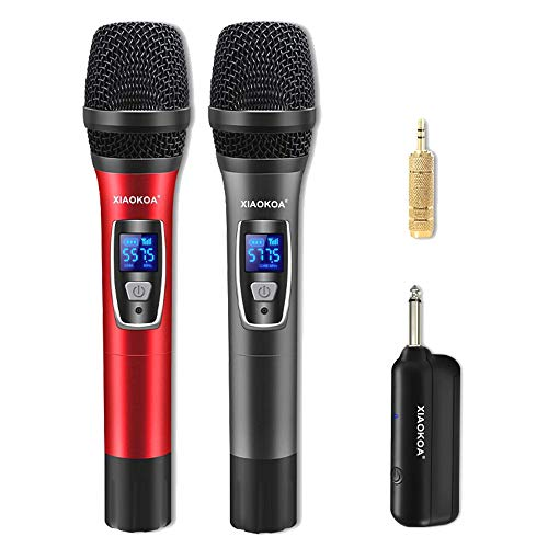 XIAOKOA Wireless Microphone,UHF Microfono Senza fili, Microfono Karaoke Wireless Portatile Professionale, con Display Digitale,per Karaoke/Home KTV/Prestazioni All'aperto/Evento Festa