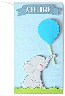 Welcome - elefantino - azzurro - palloncino - porta soldi - biglietto d'auguri (formato 21 x 11 cm) - vuoto all'interno, i...
