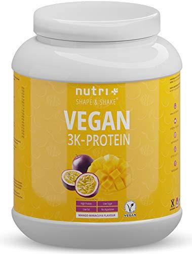 Proteinpulver VEGAN Mango & Maracuja 1kg - 83,2% Eiweiß - 3k plant-based Eiweißpulver - Veganes Protein Pulver ohne Laktose 1000g - Mehrkomponenteneiweiß mit Soja, Erbse & Weizen