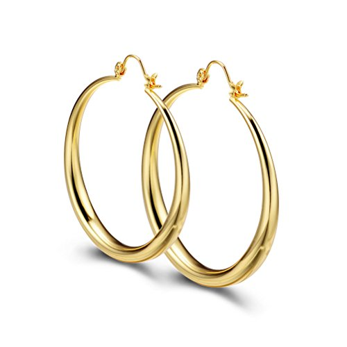 9ct Gold Hoop Earrings, PAKSHO 50mm Big Creole Earring for Women ,Gift for her & Mom, Safe for Most Ears