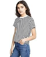 ATM Anthony Thomas Melillo Women's Short Sleeve Stripe Boy Tee, Black/White Stripe, Small