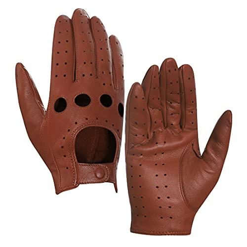 Harssidanzar Leren handschoenen voor dames, ongelinieerd, cognac, XS
