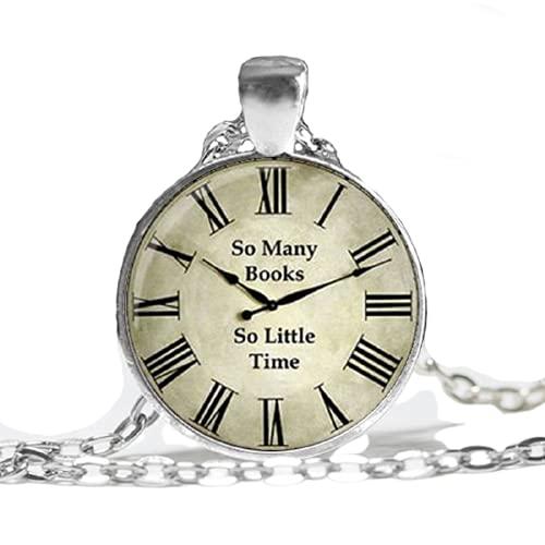 Reloj (tantos libros, tan poco tiempo) colgante, reloj vintage colgante de cristal para mujer, foto de arte brillante collar