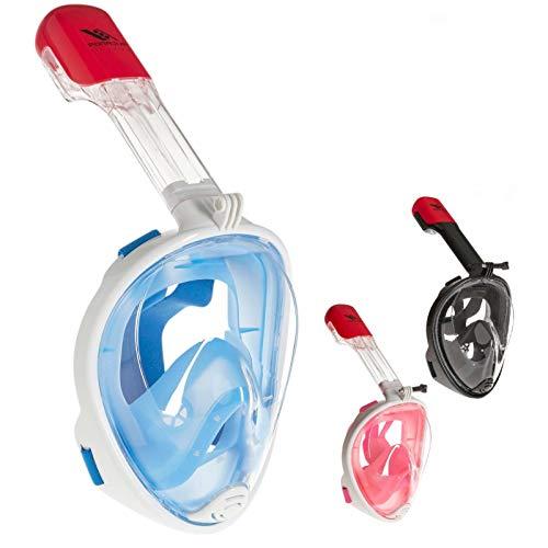 Rucanor Schnorchelmaske Vollmaske, Tauchermaske für Kinder und Erwachsene, 180° Grad Sicht, Aktion Kamera-Halterung, Anti-Fog und Anti-Leck, Größe S-M, Blau