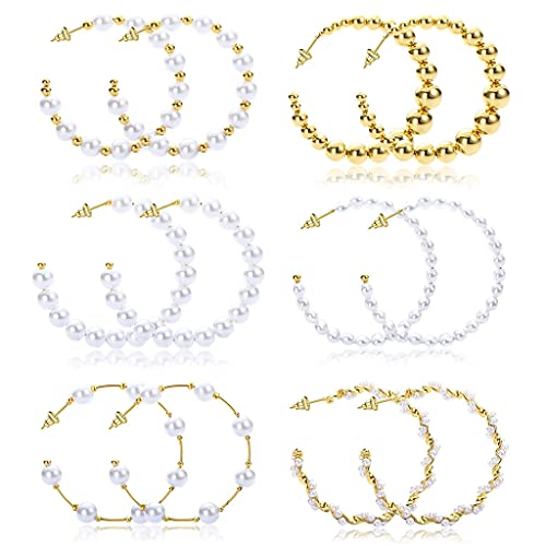 6 Pairs Pearl Hoop Earrings Dangle Drop Earrings Artificial Pearl Beaded Earring Dangle Drop Earrings for Women Fashion Hypoallergenic Earrings Jewelry Gifts