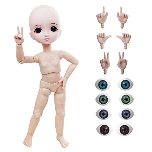 Naked 1/6 BJD Doll,29cm 11inch Ball Jointed Dolls +Basic Makeup + 5 Colors Eyes + Different Hands,Free to Change,bjd puppe