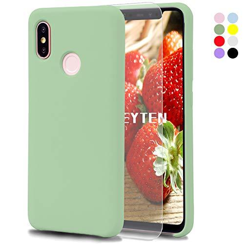 Feyten Funda Xiaomi Mi 8 [Cristal Vidrio Templado], Slim Líquido de Silicona Gel Carcasa Anti-Rasguño Protectora Caso para Xiaomi Mi 8 (Verde Claro)