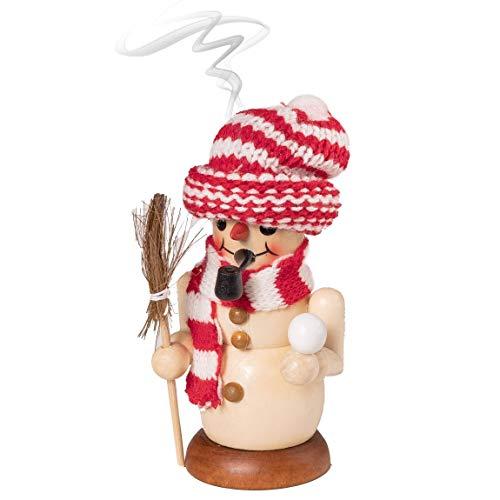 Wichtelstube-Kollektion Holz Räuchermännchen Räucherfigur Schneemann Weihnachten im Erzgebirge Räuchermann