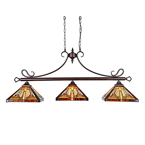 """Tiffany Pool Table Light Mission Style, 3-Light 47"""" Wide Vintage Hanging Pendant Light Fixture for..."""