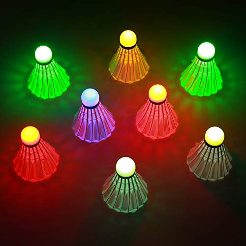 Sportneer LED Badminton Shuttlecocks 360° Lighting Birdies for Badminton, Glow in The Dark Shuttlecocks for Indoor/Outdoor Sports Activities 8-Pack
