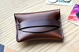 Horween Flap Wallet in Brown Horse Chromexcel leather. Small purse, cash and card holder with Burgundy strap