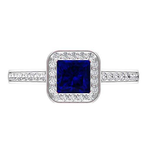 Anillo de zafiro azul creado en laboratorio, anillo de halo de diamante HI-SI, anillo solitario de oro con piedras laterales (5 mm, 14K Oro blanco, laboratorio de zafiro azul creado, Size:EU 46