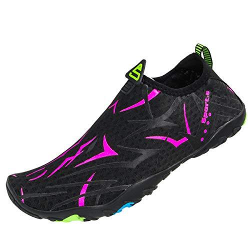 Farchat Zapatos de Agua para Hombre Mujer Snorkel Acuáticos Escarpines Playa Buceo Surf Piscina Vela Mar Río Aqua Deportes Calzado de Natación-925-NEGRO-43