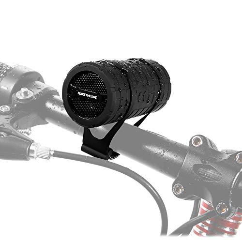 Fahrrad Lautsprecher, Maketheone Tragbarer Bluetooth Lautsprecher Spritzwassergeschützt und Wasserdichtes, Unterstützt Micro SD/TF Karte, mit Befestigungskit fürs Fahrrad und Outdoor