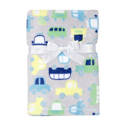 Baby Gear Plush Velboa Ultra Soft Baby Boys Blanket 30 x 40, Blue/Green Trucks