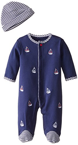 Little Me Baby-Boys Newborn Sailboats Footie and Hat, Navy, 6 Months