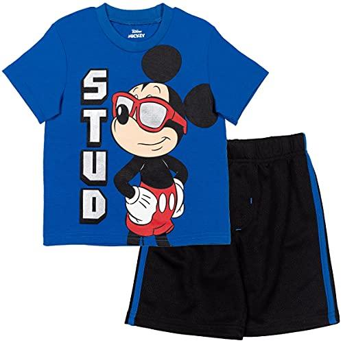 Disney Mickey Mouse Baby Boys T-Shirt Athletic Mesh Shorts Set Blue/Black 18 Months