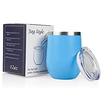Jay Style Wine Tumbler - 12 oz Stainless Steel Tumbler with Lid,Stemless Double Wall Vacuum Insulated Travel Cup for Wine,Coffee,Cocktails Light Blue,1 Pack