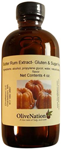 OliveNation Butter Rum Flavoring, Non-Alcoholic Buttered Rum Extract for Baking, Beverages, Sauces, Non-GMO, Gluten Free, Kosher, Vegan - 8 ounces