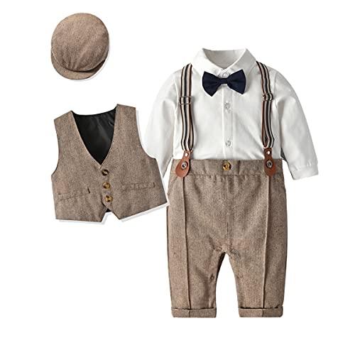 T TALENTBABY Baby Jungen Smoking Taufe Hochzeitskleidung Sets Strampler Shirt + Weste + Hosenträger + Hut + Fliege 5er Kleinkind Blazer Outfit Gentleman Anzug, Braun, 3-6 Monate