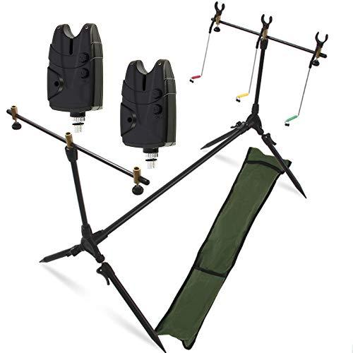 G8DS® Set Rod Pod Rutenhalter + Tragetasche inklusive 2 Bissanzeiger mit Lautstärke- und Tonregler für 9V Block Karpfen Angeln