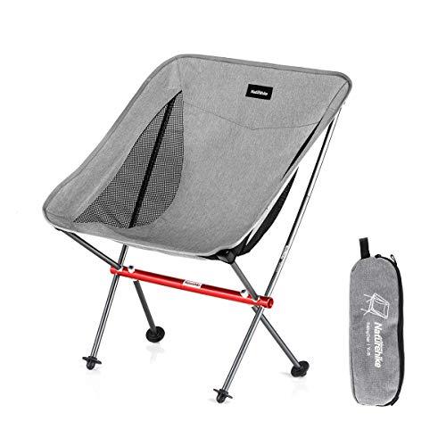 Naturehike La Silla de Camping portátil Puede soportar 150 kg, es Ultraligera y Plegable, y se Puede Montar y Desmontar rápidamente (Gris)
