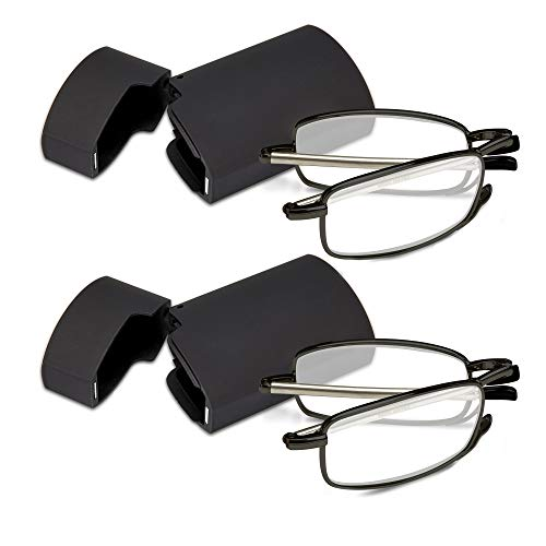 Marc De Rez Foldable Mini Reading Glasses 2 Pack - Flip Top Cases - Folding Prescription Readers For Men and Women (Black, 2.00) Small