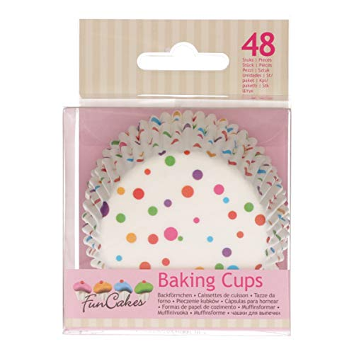 FunCakes FC4027 - Pirottini per muffin di alta qualità, con rivestimento oleoso, perfetti per cupcake, muffin o brownies, 48 pezzi