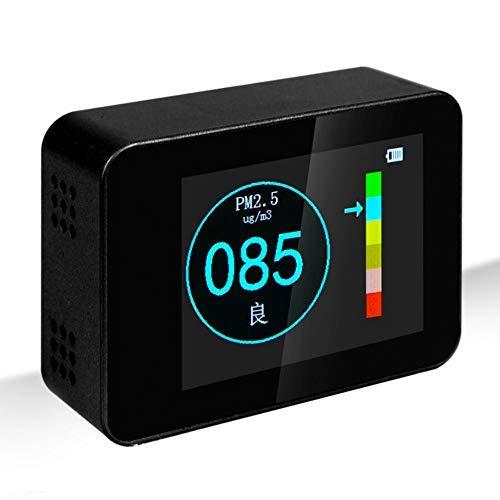 TYZXR Monitor de Calidad del Aire, Detector casero Pm2.5, Detector portátil Pm1.0 | Pm2.5 | Pm10, Pantalla LED Grande Monitoreo Profesional Retroalimentación en Tiempo Real (Negro/Rojo/Color Metal),