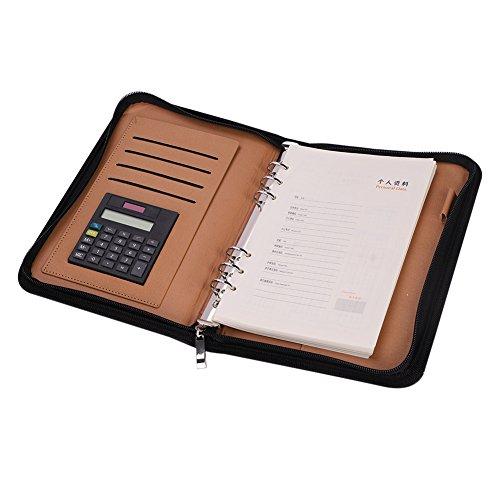 Portfolio van PU-leer, aktetas, A5, A6, zakelijke planner, map met rekenmachine en ritssluiting, multifunctioneel notitieblok voor kantoor, school en bedrijfsleider Noir A5