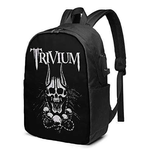 USB Backpack 17 in Trivium Heavy Metal Band Multifunctional Bookbag with USB Charging Port