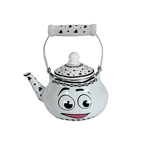 Bouilloire Émail Kettle 1.5L / 2L / 2.5L for cuisinière à induction Gazinières, Machine à café Smiley Laisser refroidir l'eau bouillante pot d'eau Teapot Thermos Hob ou Poêle Cuisinière Poêles au gaz
