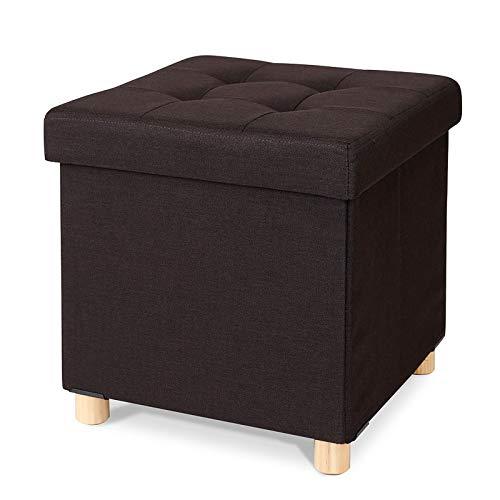 dibea Sittpall hopfällbar pall sittbänk förvaringsbox färg brun