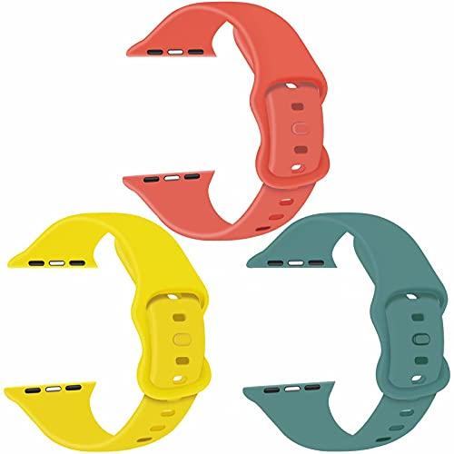 Paquete de 3 correas para Apple Watch compatibles con Apple Watch 38 mm, 42 mm, 40 mm, 44 mm, correa de silicona suave para relojes deportivos, compatible con iWatch SE Series 6 5 4 3 2 1(B, 42/44)