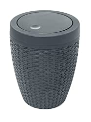 Addis Charcoal Faux Rattan Round Bathroom Bin