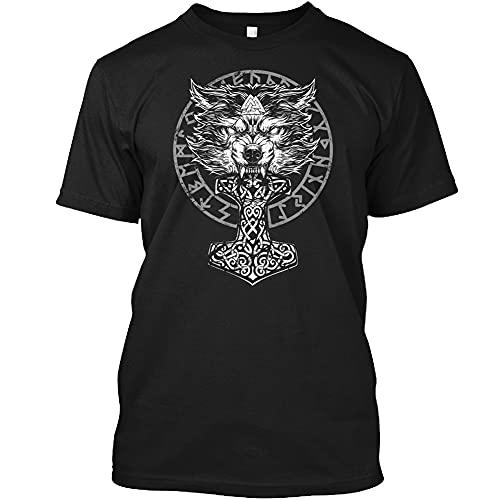 Camiseta Vikinga, Mitología Nórdica, Tótem de Lobo Odin, Tatuaje Martillo Thor, Ropa Calle con Runas, Camiseta de Verano Informal Suelta Moda Unisex Mangas Cortas,Negro,7XL