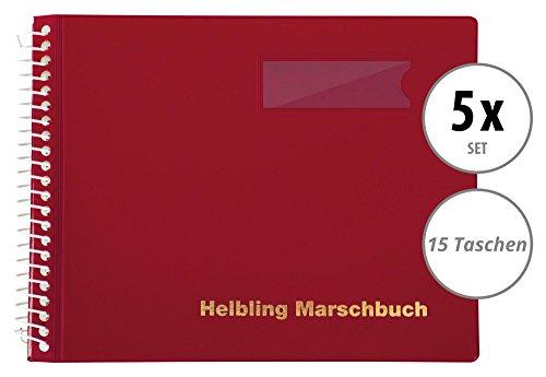 Helbling BMR15 Marschbuch 5er Set (5 Notenbücher mit je 15 blendfreien Klarsichthüllen, Umschlag aus flexiblem Kunststoff, bruchsichere Spiralbindung, wetterfest, Querformat: 18 x 14 cm) rot