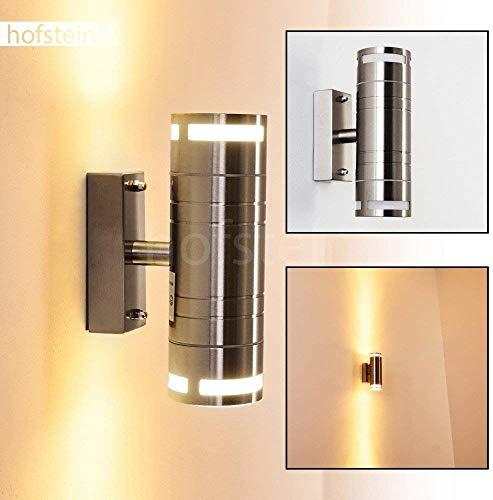 LED buiten wandlamp Selve, wandlamp van metaal/glas in roestvrij staal, tuinverlichting 2 x GU10 max. 35 Watt, moderne wandlamp met up&down effect, IP44