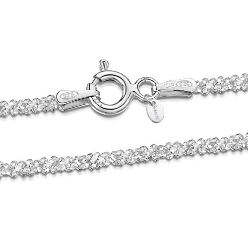 925 Sterling Silver 2 mm Snow/Rock Chain Necklace Size: 16 18 20 22 inch / 40 45 50 55 cm (18inch/45cm)