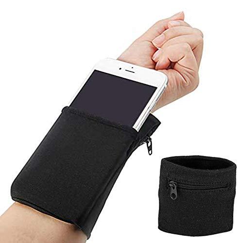 Handgelenktasche Sportarmband Geldbörse Armbandtasche Handyhülle universal Smartphonetasche Handytasche Handyhalterung Fitness Schweißbänder Armband zum Joggen Laufen Sport für Herren Damen