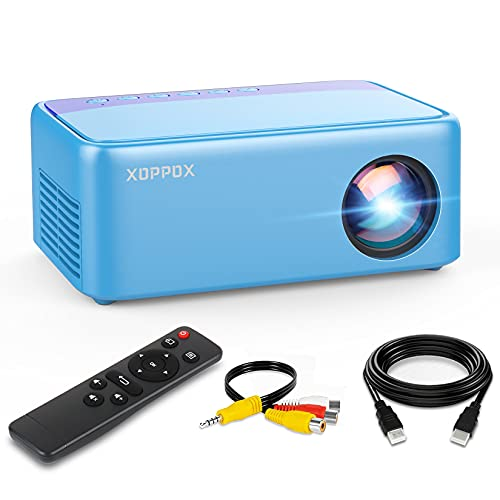 Mini Cartoon Projector, Portable Movie Projector for Kids Gifts, XOPPOX Outdoor Mini Projector, Home Theater LED Pico Video Projector for phone, hd Movie projector with HDMI USB SD AV Interfaces